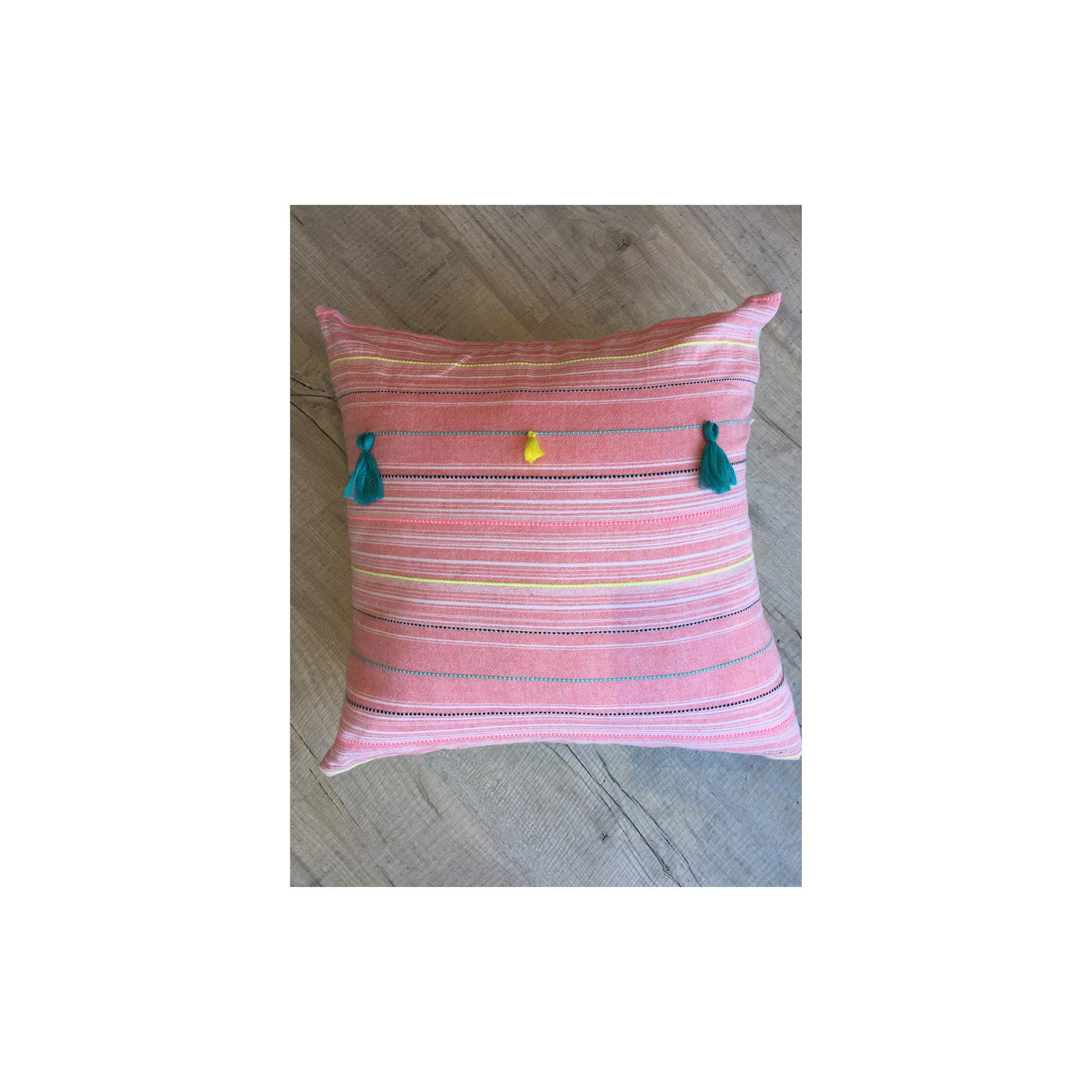 Pebble & Stripe - Square pink tassle cushion