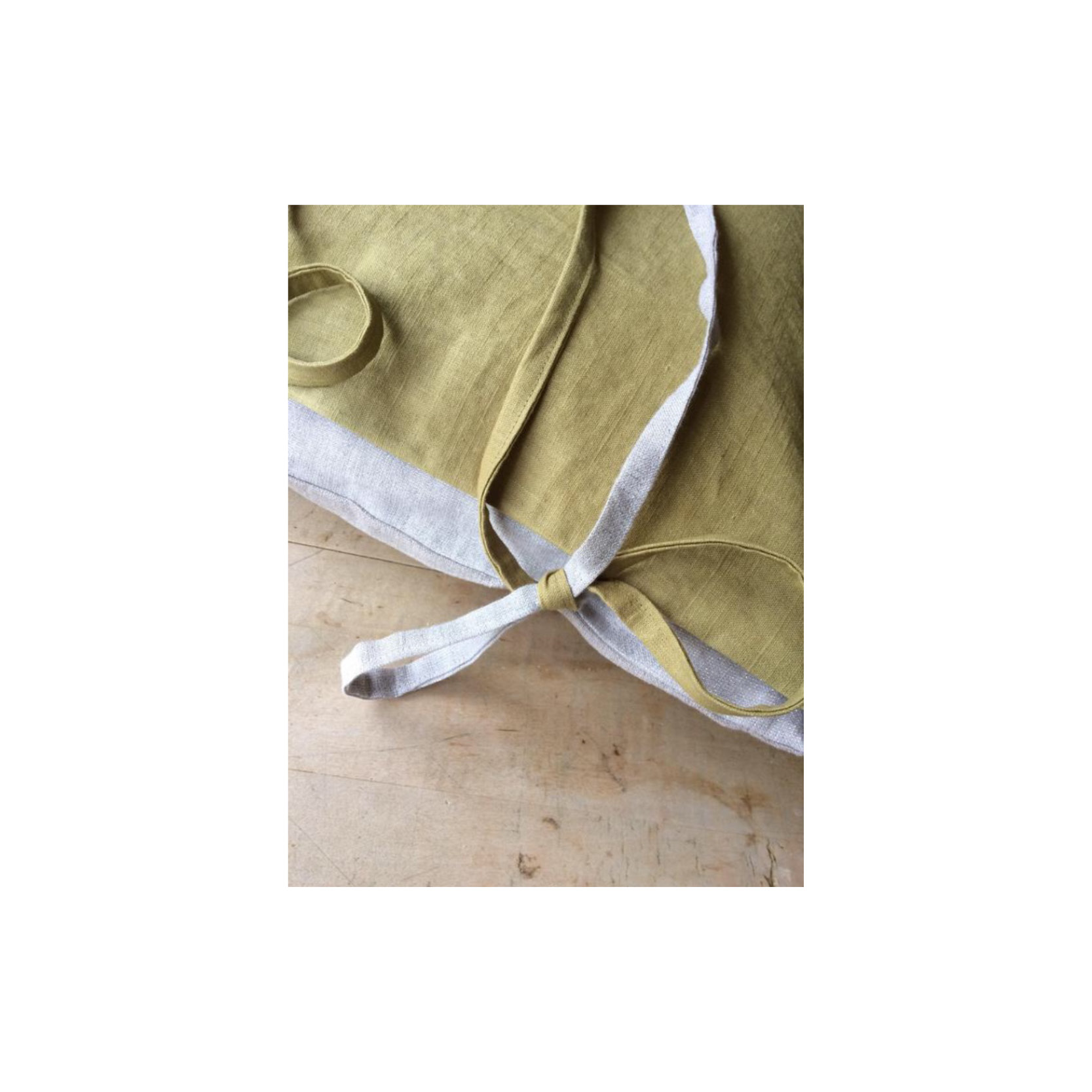 Pebble & Stripe - Square Olive Cushion
