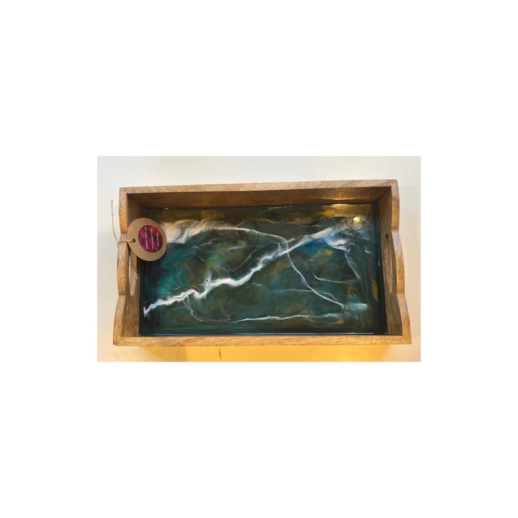 Chantal - Engraved Dark Wood Tray