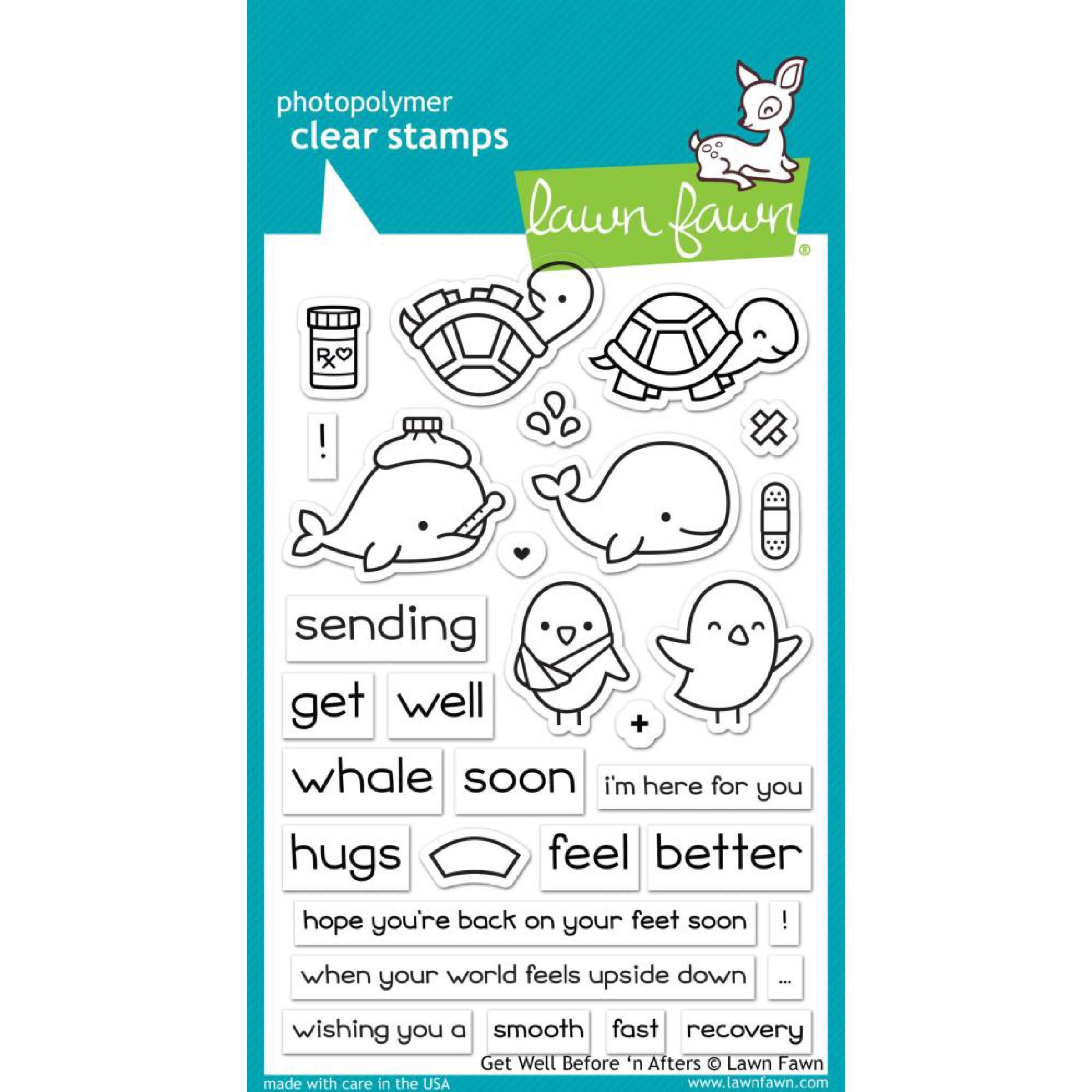 Lawn Fawn Clear Stamps / Klar Stempler - Get Well Before 'n Afters
