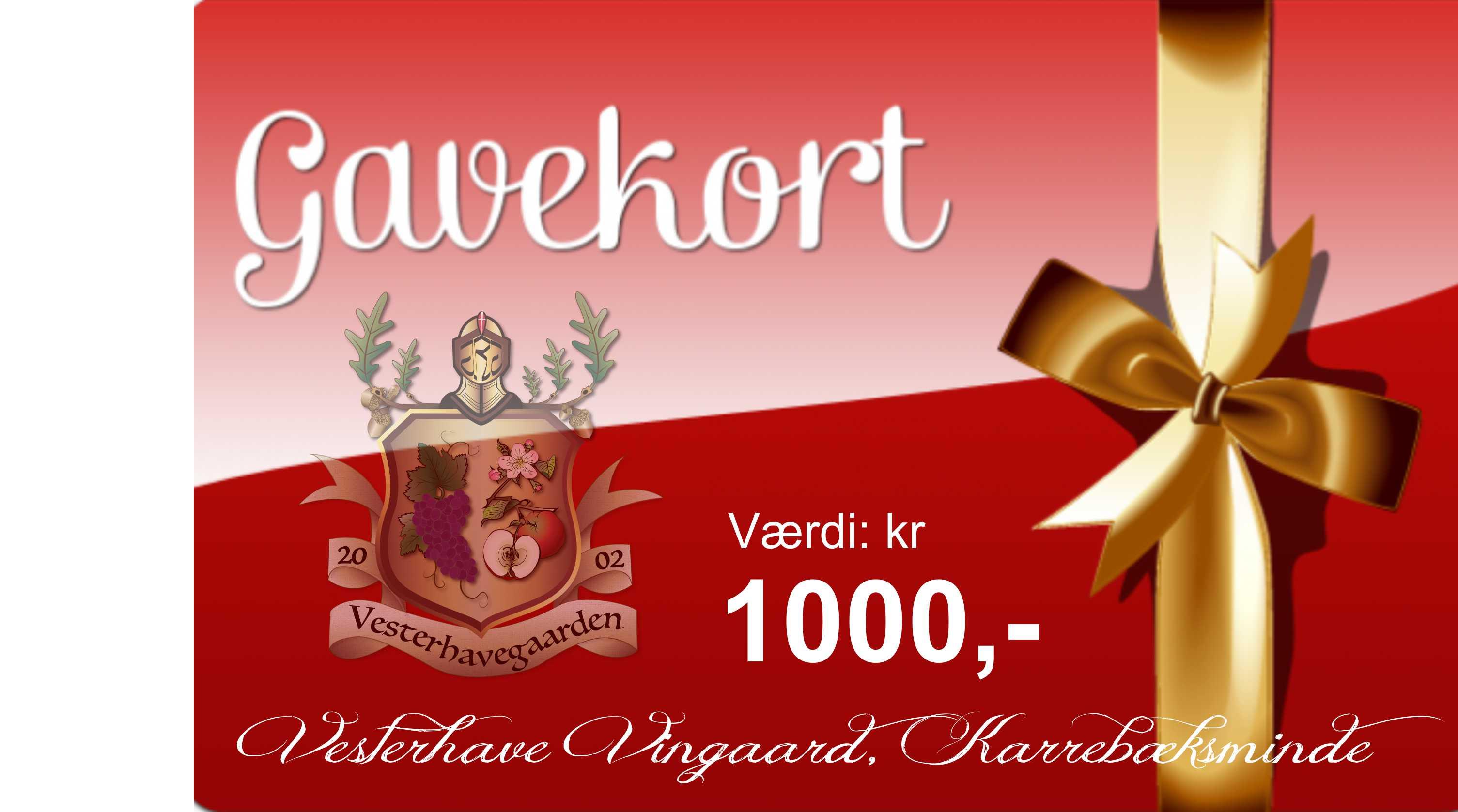 GAVEKORT, værdi 1000 kr