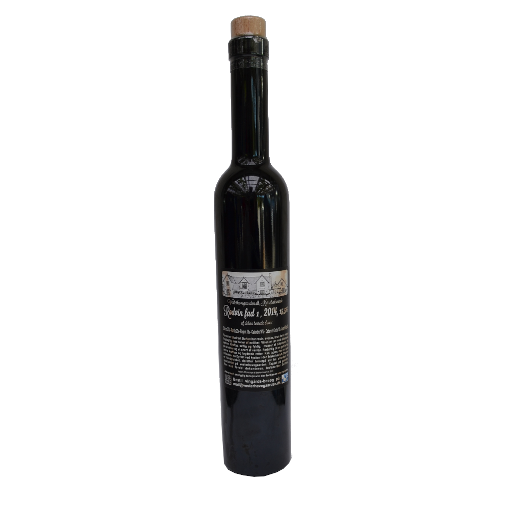 Rødvin fad 1, Sort Lagune. 2014, 15,5% Alc..   500ml,