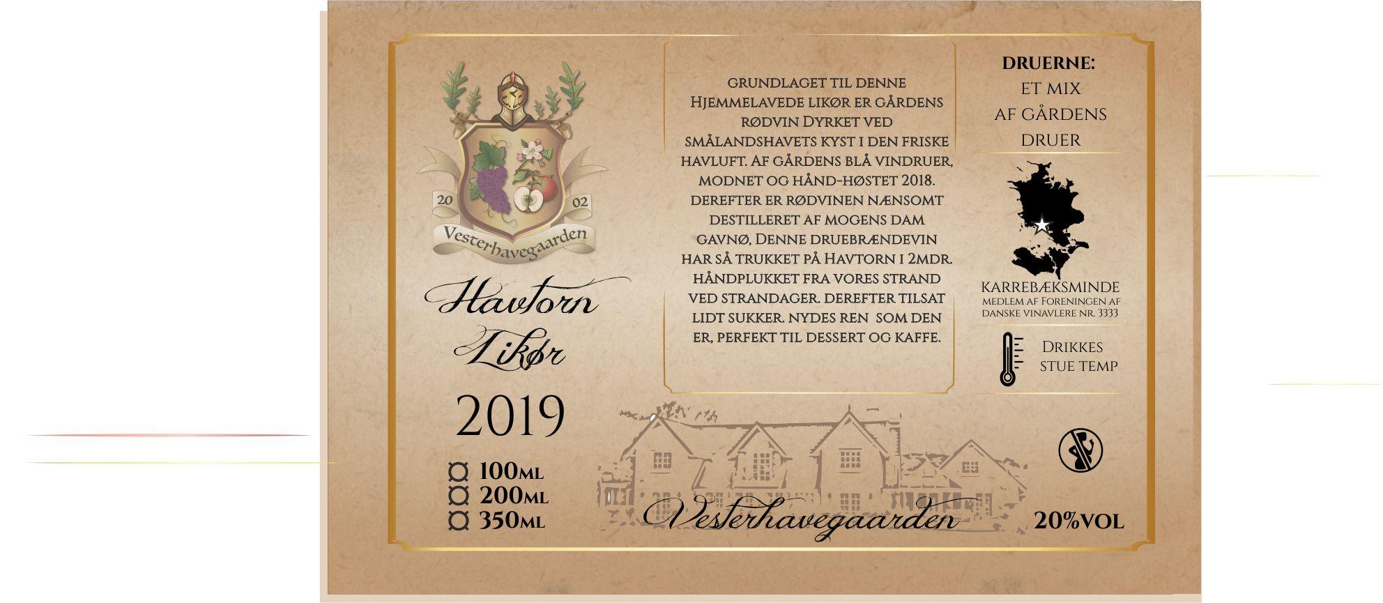 LIKØR, HAVTORN, 2020, 200ml, 20%