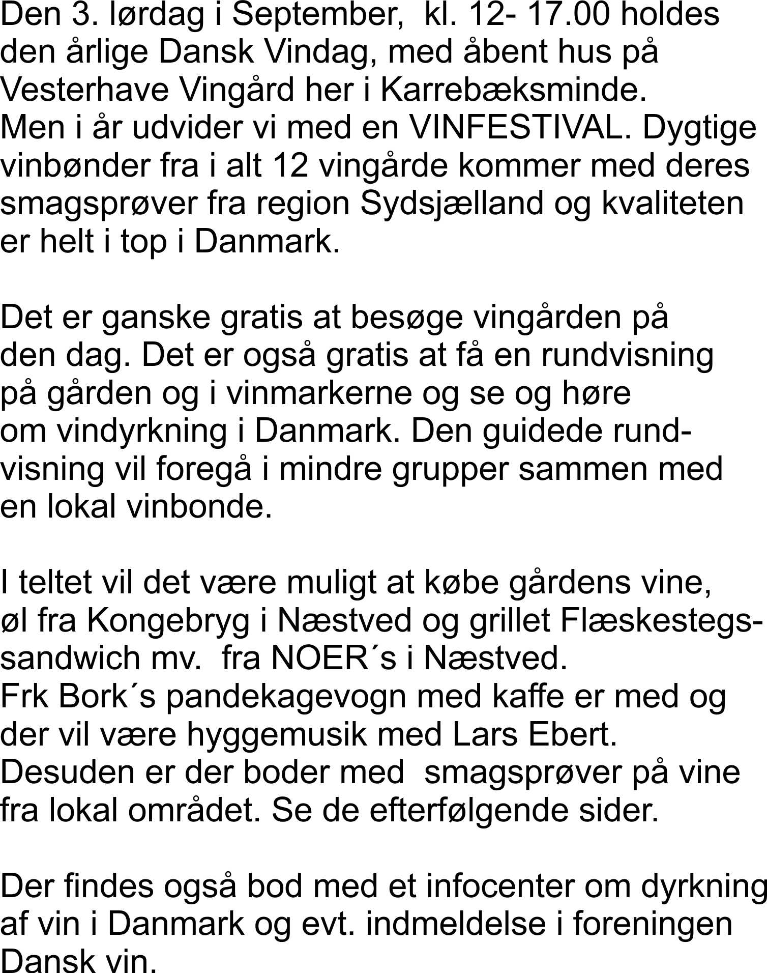BORD reservation til Vinfestival 18.sept 2021