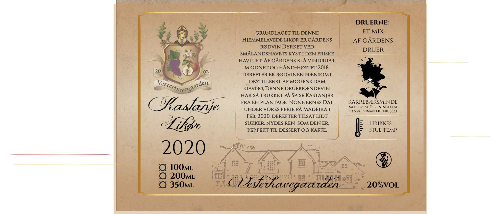 LIKØR, KASTANJE,  2020, 200ml, 20%
