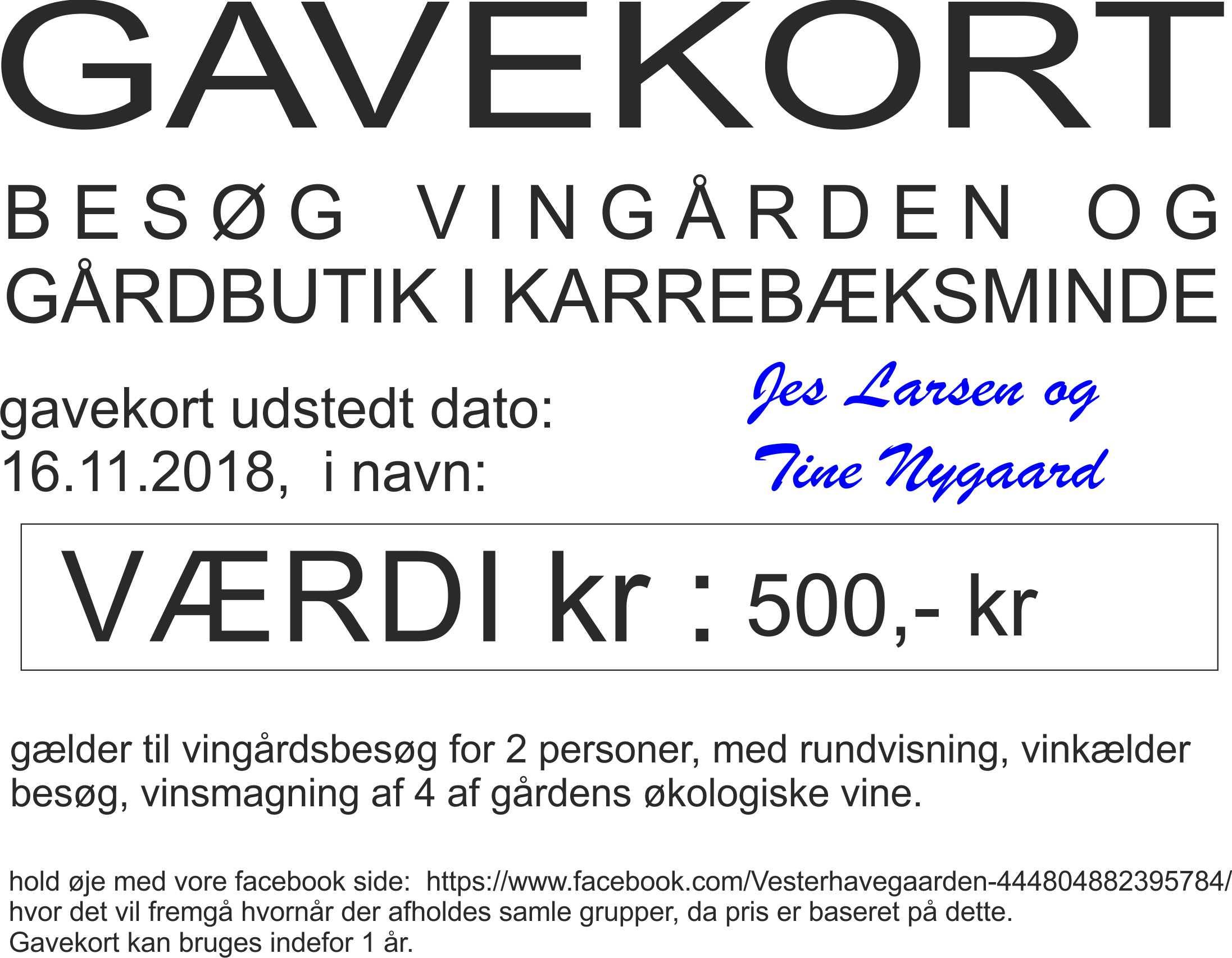 GAVEKORT VINGÅRDS BESØG