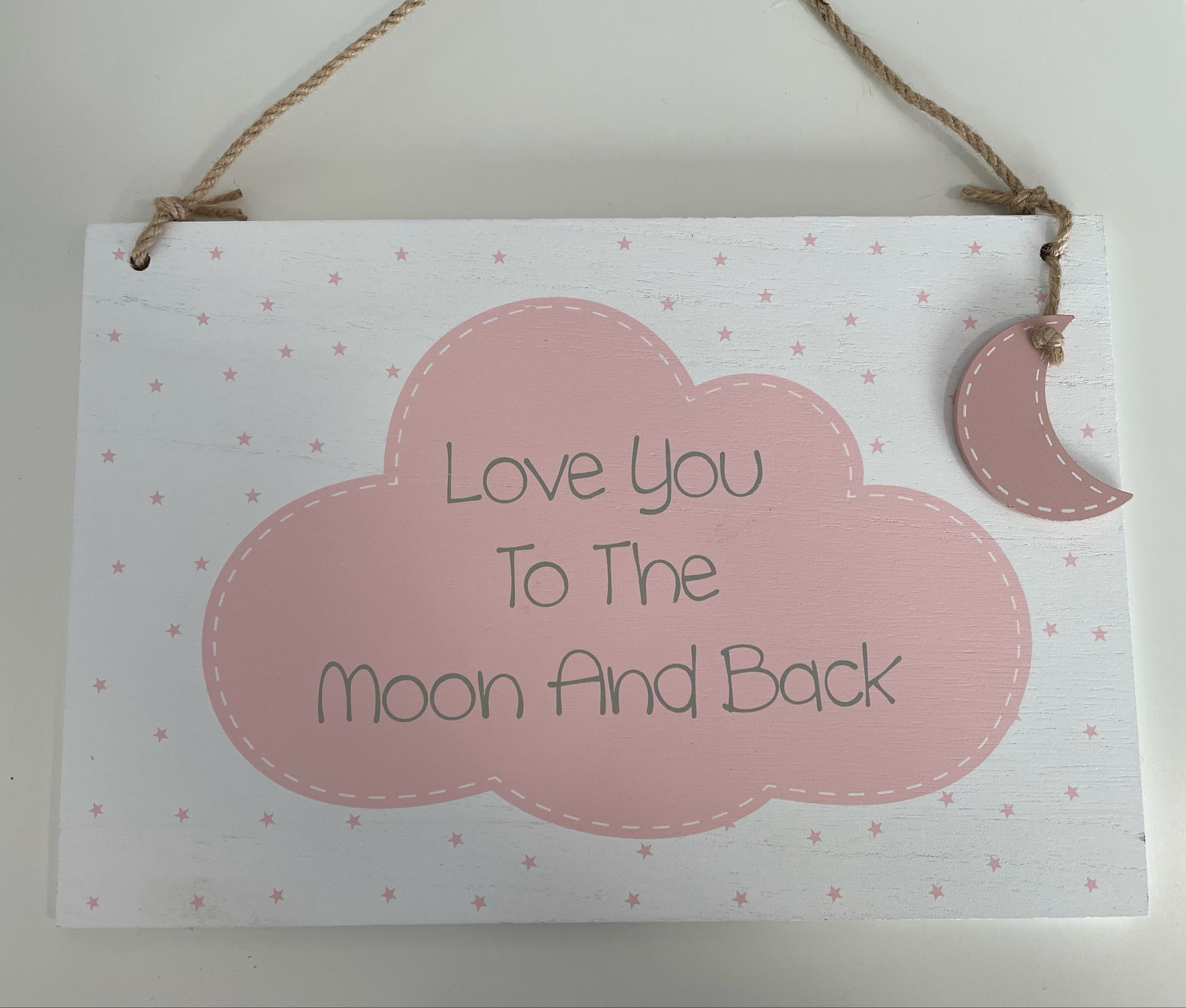 Love you to the moon and back large plaque pink