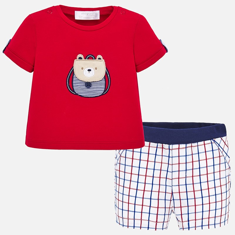NOW £14 Mayoral T-Shirt & Shorts Set Red Check (1259) (was £27)