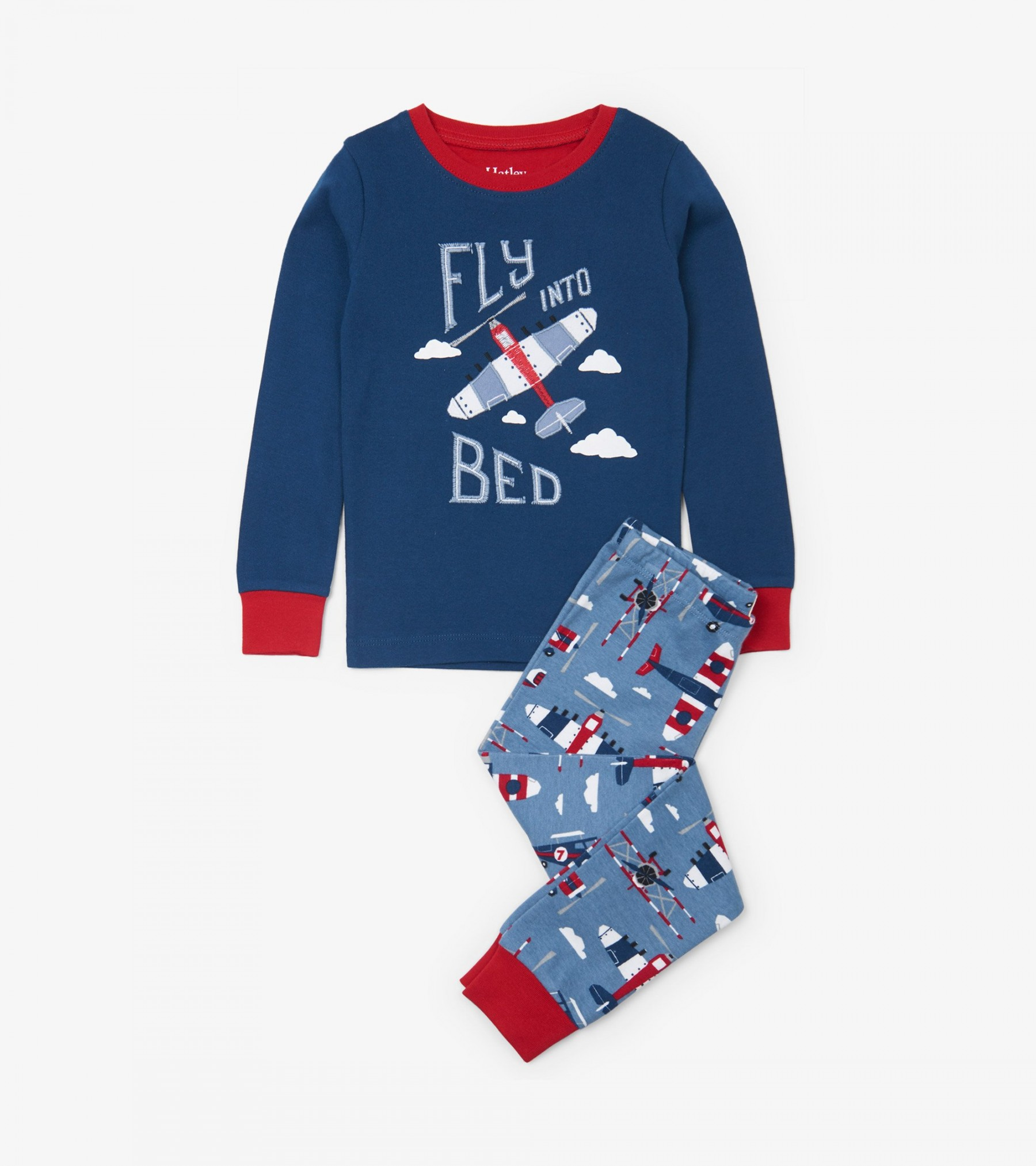 WAS £27.00 Hatley Paper Planes Organic Cotton Applique Pyjama Set
