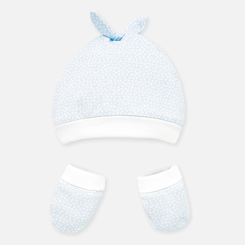 Mayoral Hat & Mittens Set Baby Blue (9677)