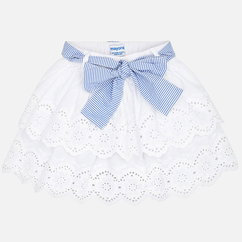 NOW £13 Mayoral Embroidered Skirt White (3905) (Was £26)