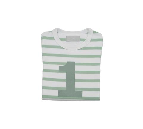 Bob & Blossom -  Seafoam & White Striped Number T-shirt