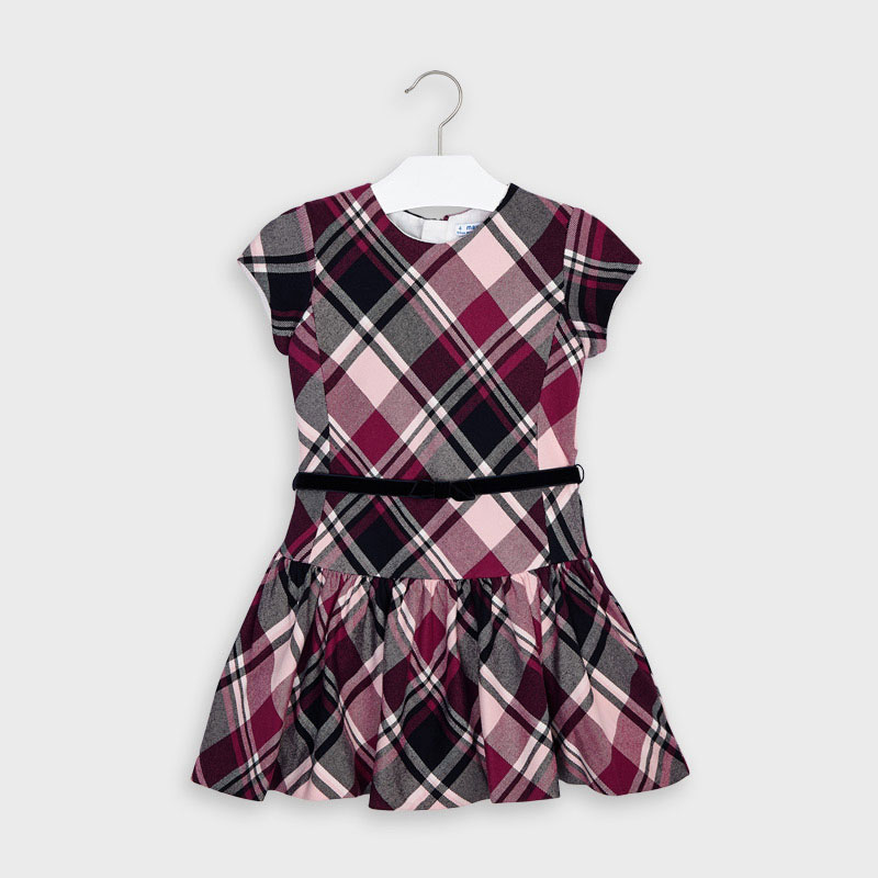 Mayoral Checked Dress-(Cherry 4974)