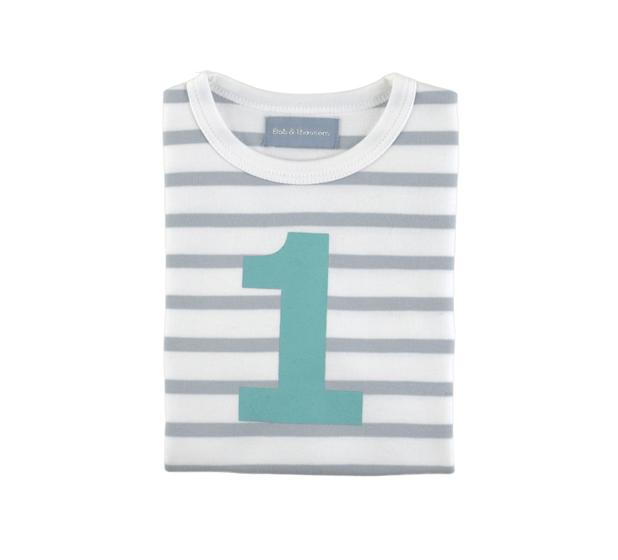 Bob & Blossom  - Grey & White Striped Number T-shirt