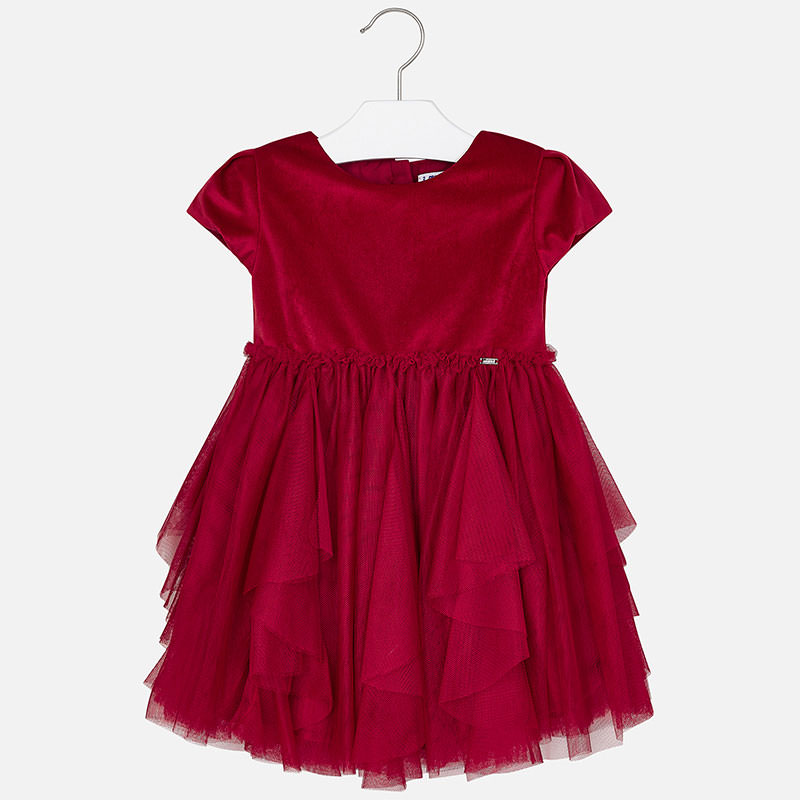 WAS £42.50 Mayoral Velvet & Tulle Dress Red (4924)