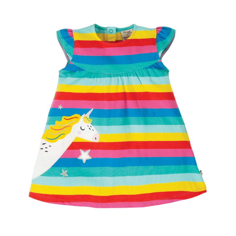 NOW £21.70 Frugi Little Lola Dress - Flamingo Multi Stripe/Unicorn