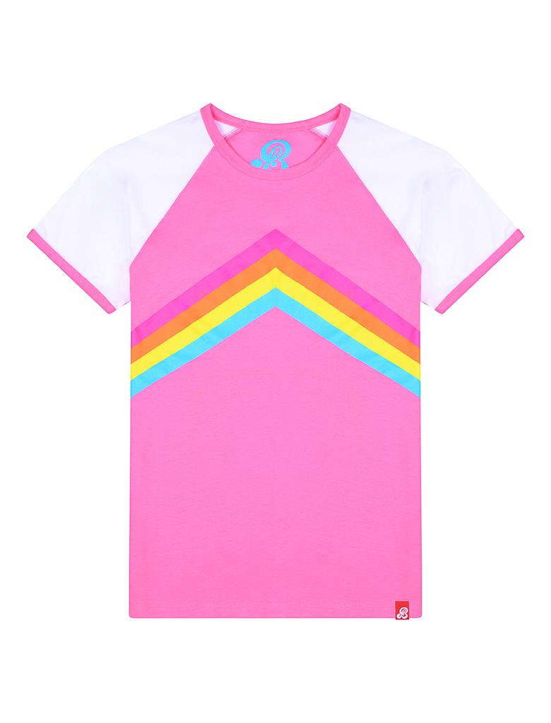 NOW £16 St Bert's Rainbow T-Shirt - Pink / White (Was £20)