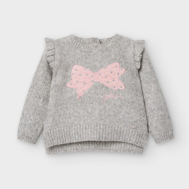 Mayoral Bow Jumper-Pink & Grey (2357)