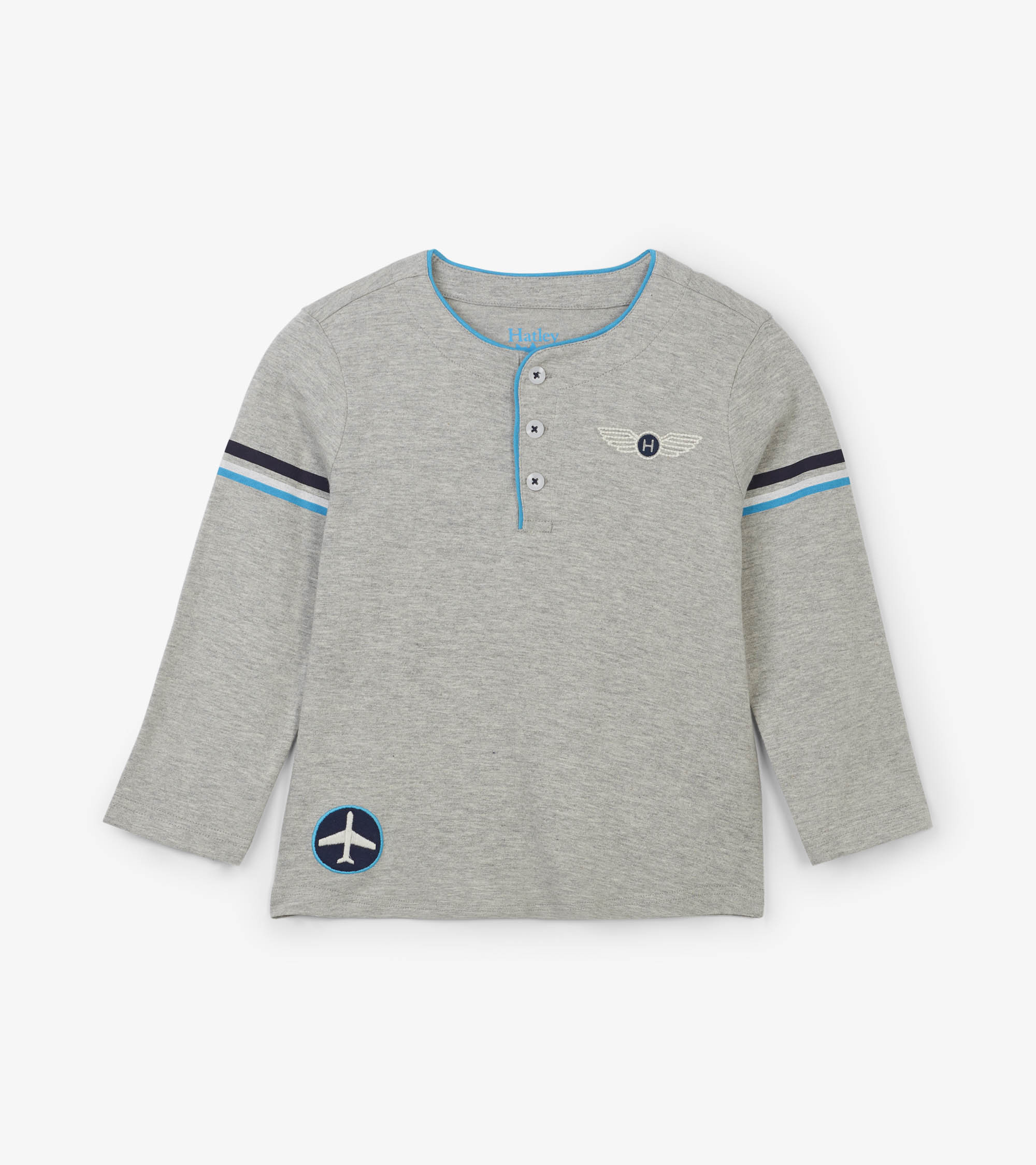 WAS £18.00 Hatley Paper Planes Long Sleeve Henley