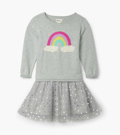 Hatley Metallic Hearts Drop Waist Tulle Dress