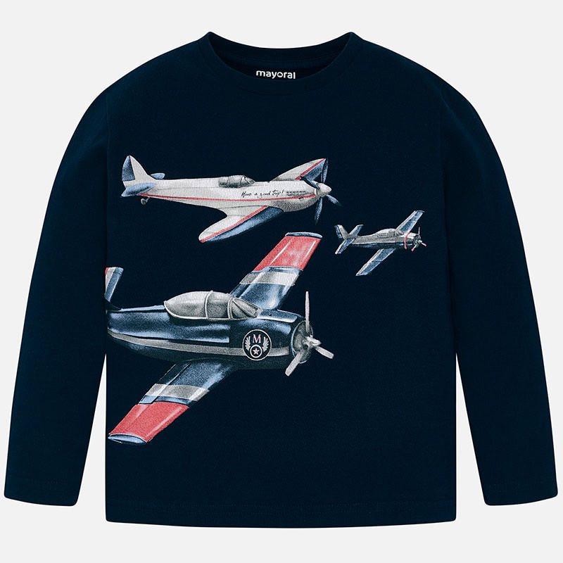 WAS £16 Mayoral Aeroplane Print Top Navy (4023)
