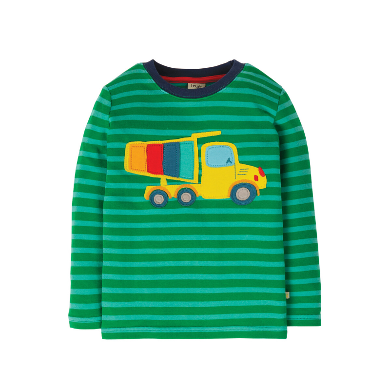 NOW £16.80 Frugi Discovery Applique Top - Ribbit Green Stripe/Truck