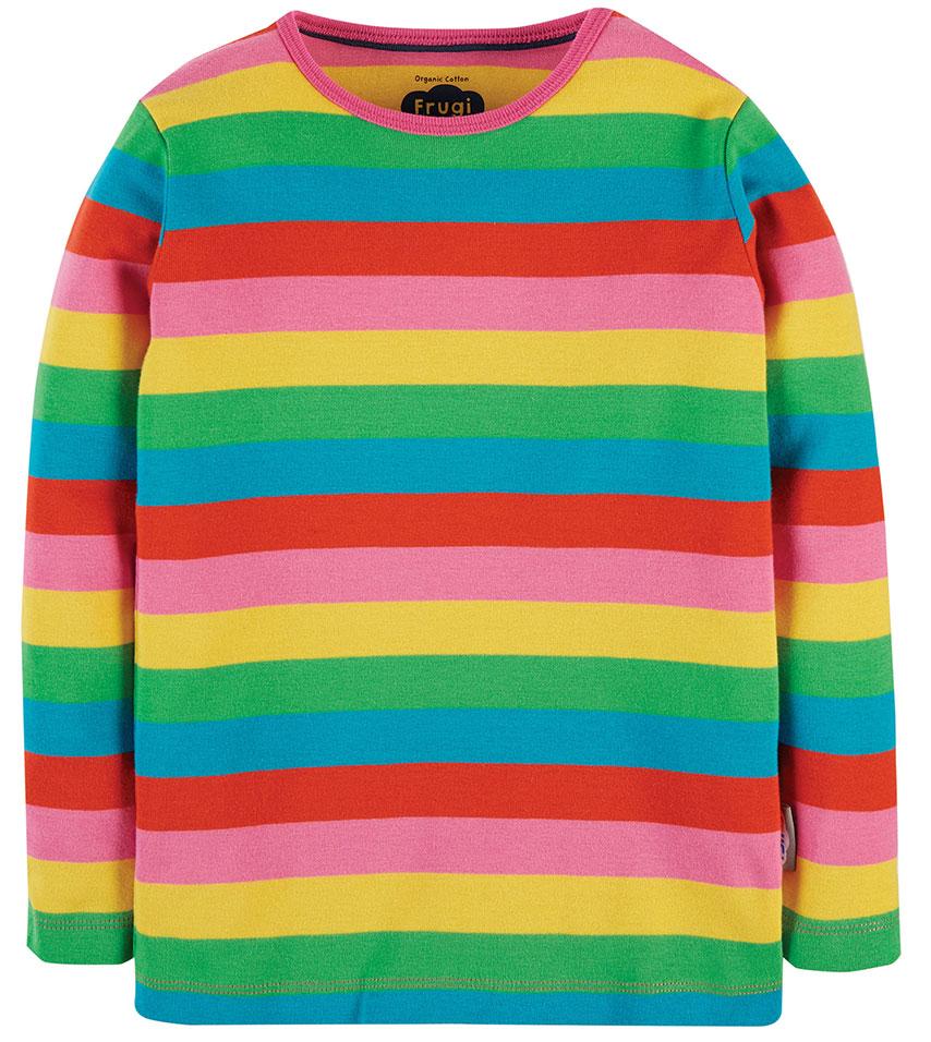 SALE £12.80 Frugi Favourite Long Sleeve Tee -Foxglove Rainbow Stripe (Was £16)