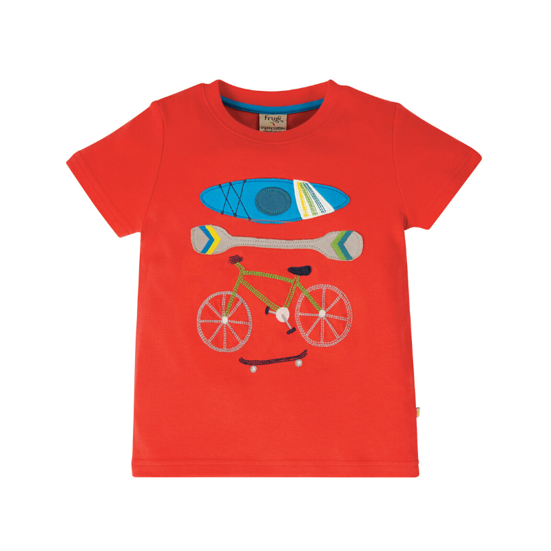 NOW £16 Frugi Carsen T-Shirt - Koi Red/Sports