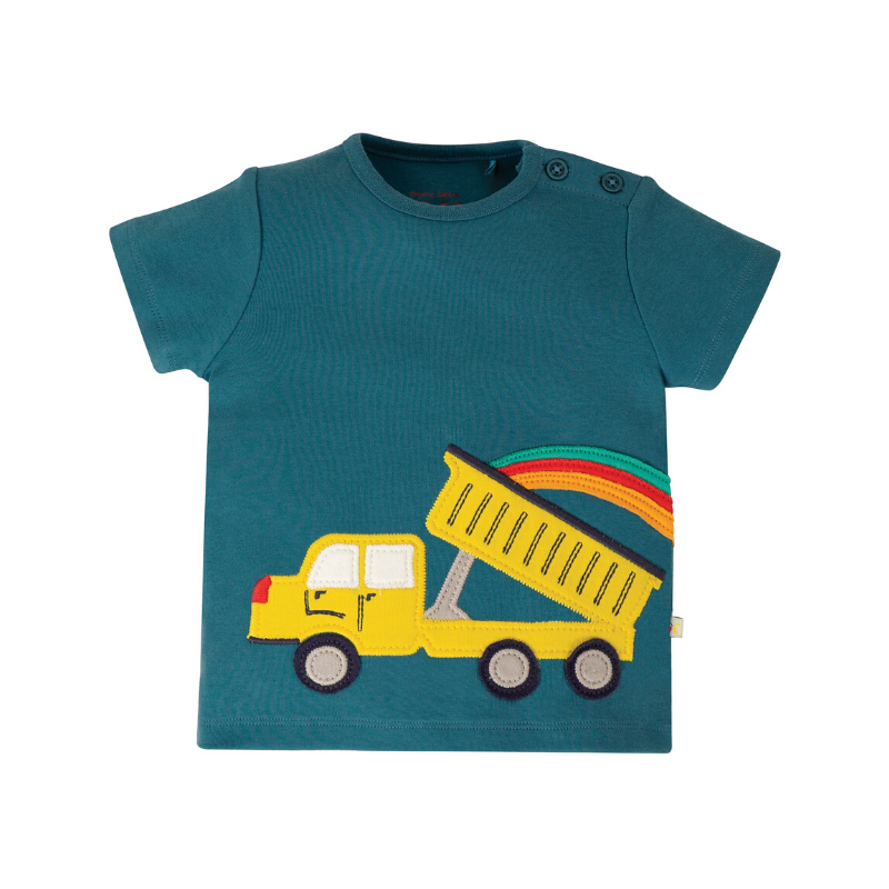 Now £13.60 Frugi Scout Applique Top - Steely Blue/Truck