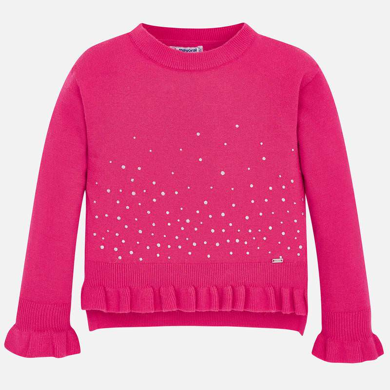 WAS £30.50 Mayoral Knitted Ruffle Sweater Pink (4303)