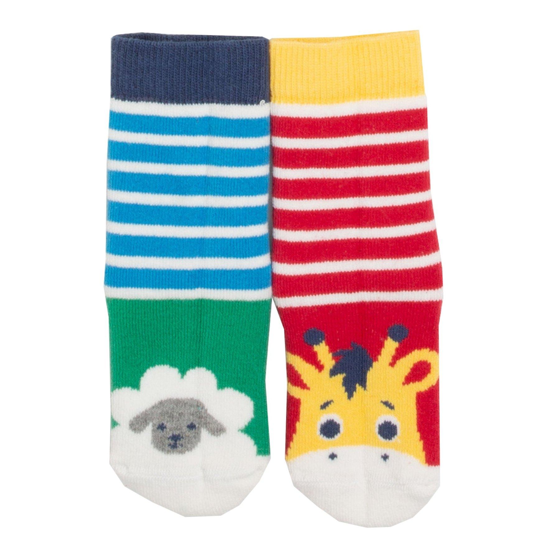 Kite 2 Pack Grippy Socks - Sheep/Giraffe