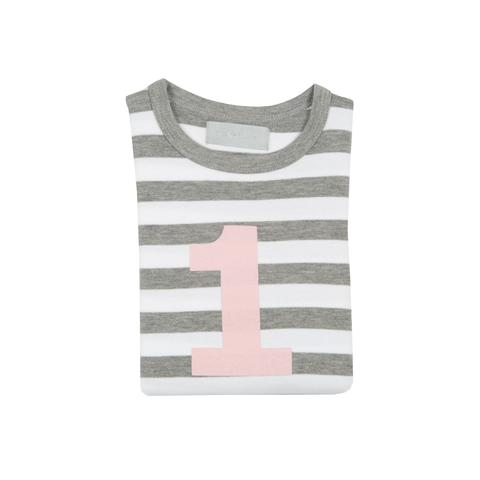 Bob & Blossom - Grey Marl & White Striped Number T-shirt
