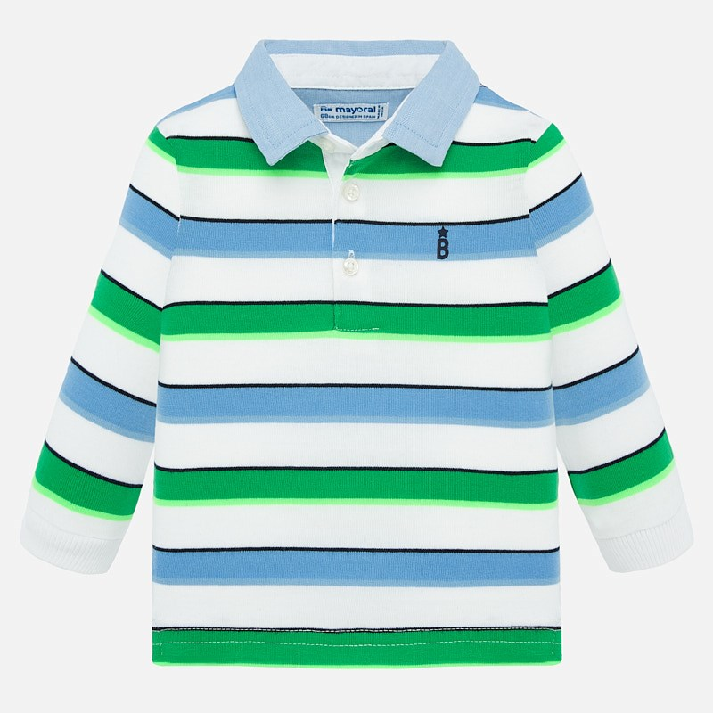 Mayoral Long Sleeve Polo Shirt Green Stripes  (1155)