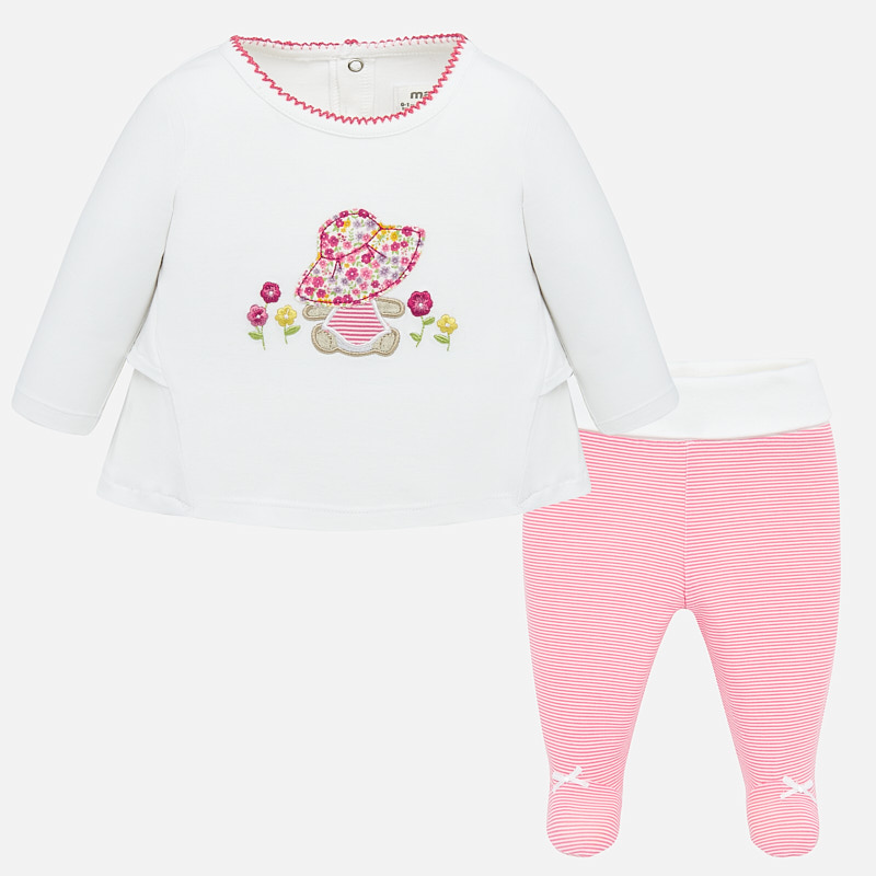 Mayoral Top & Footed Bottom Set Pink/White (1534)