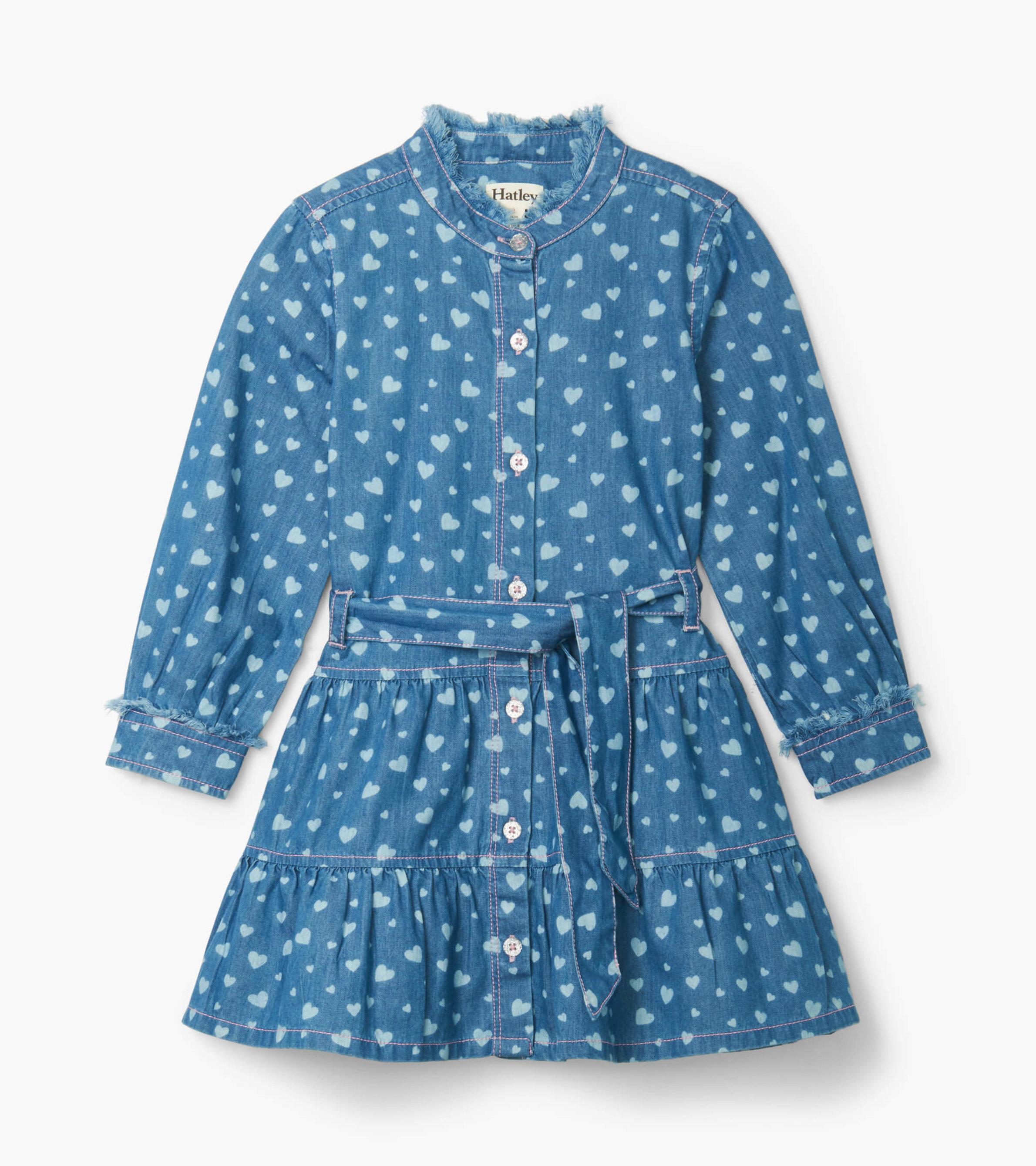 SALE £32.80 Hatley Heart Cluster Button Down Denim Dress (was £41.00)