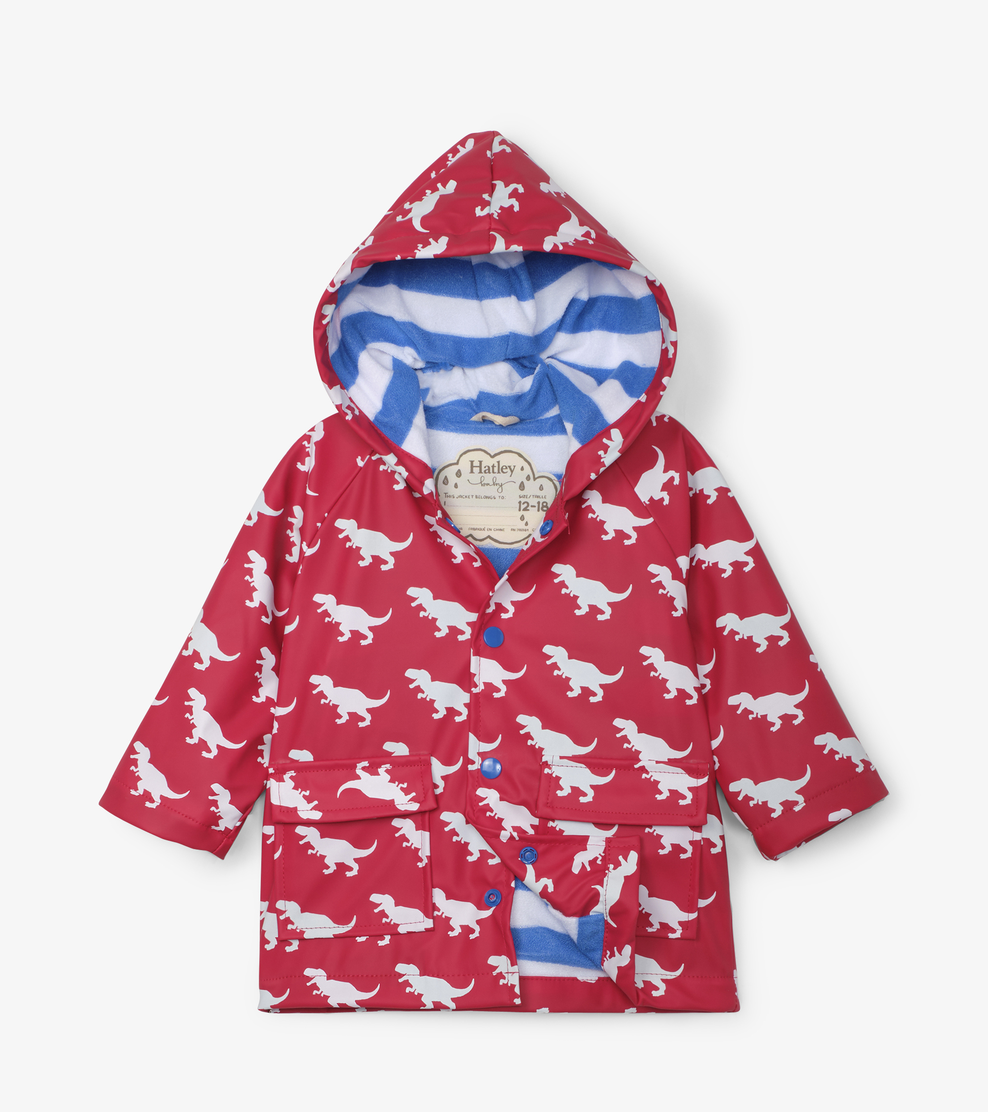 Hatley T-Rex Silhouettes Colour Changing Baby Raincoat