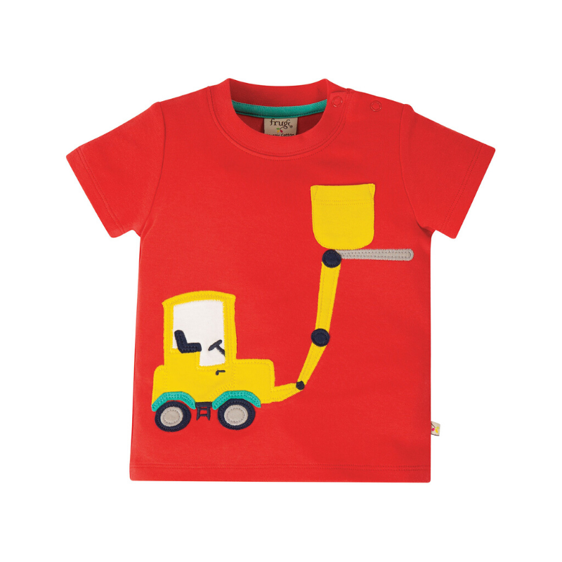 NOW £12.75 Frugi Polzeath Pocket Top - Koi Red/Truck