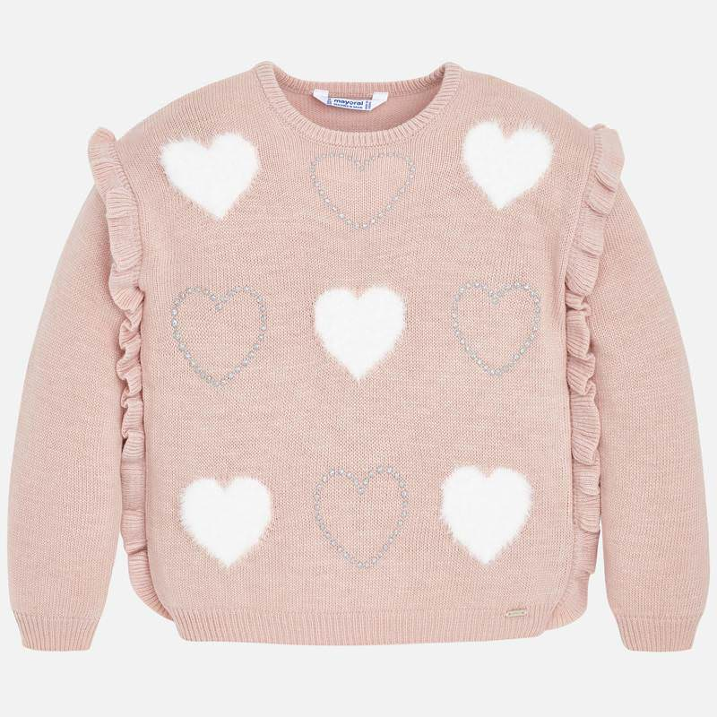 WAS £31.50 Mayoral Ruffle Heart Sweater Pink (4304)