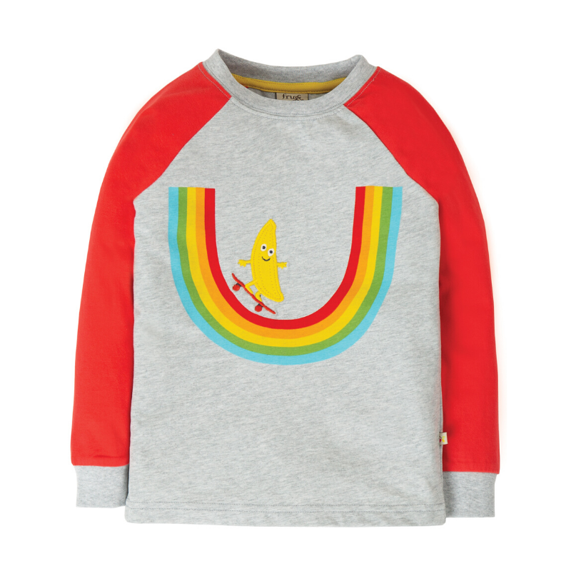 NOW £16.80 Frugi Rainbow Raglan Top - Grey Marl/Rainbow