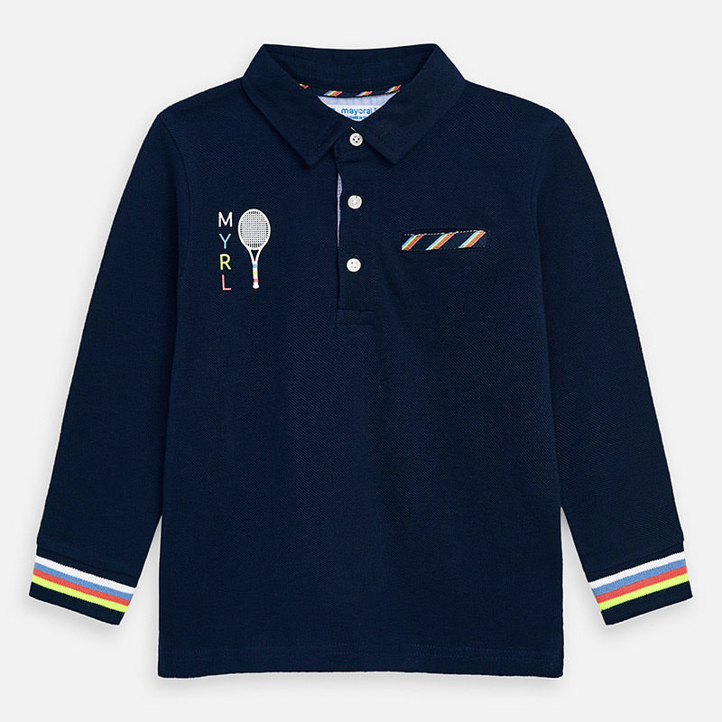 Mayoral Long Sleeved Polo Shirt Navy (3157)