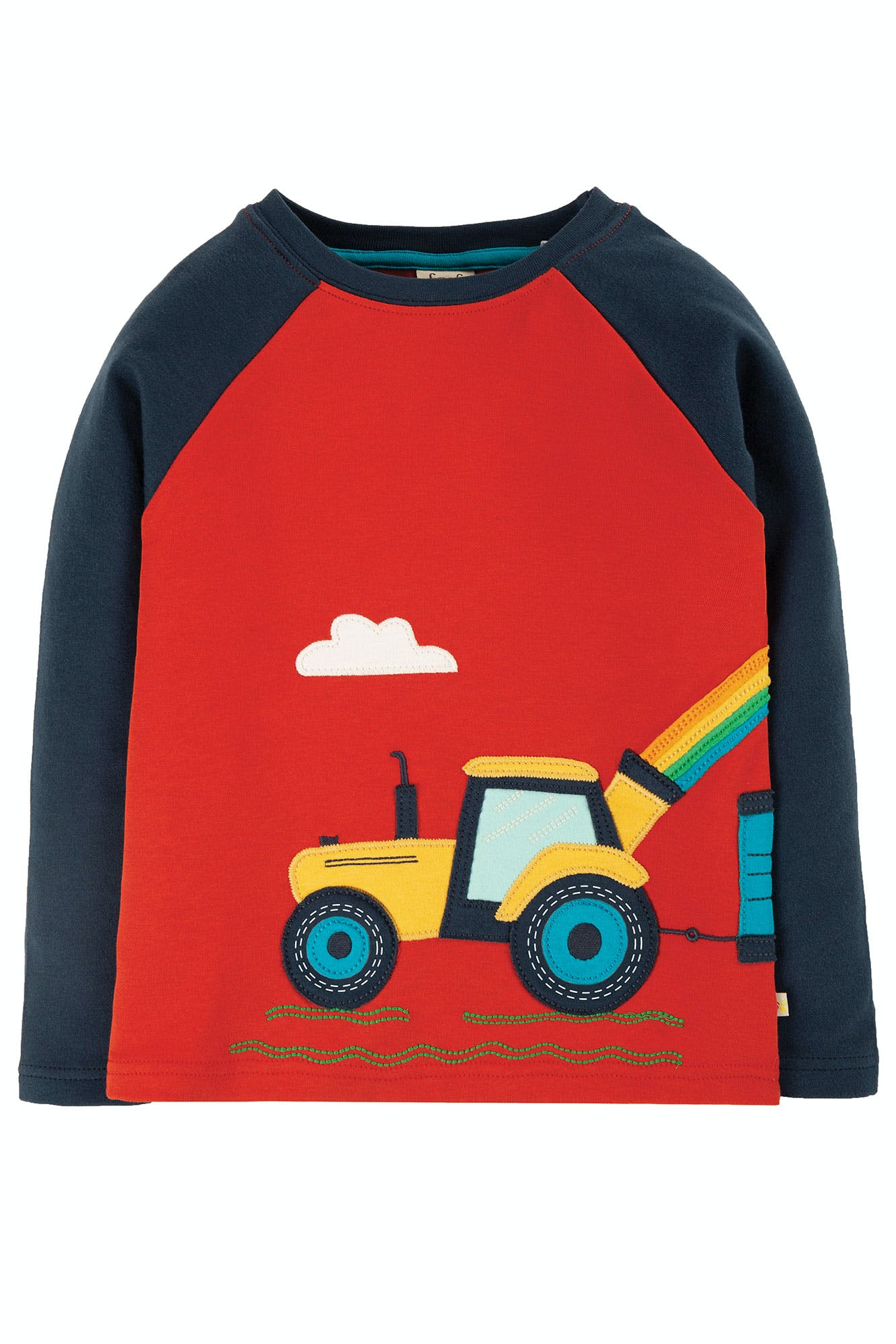 Frugi Albert Applique Top - Ginger/Tractor