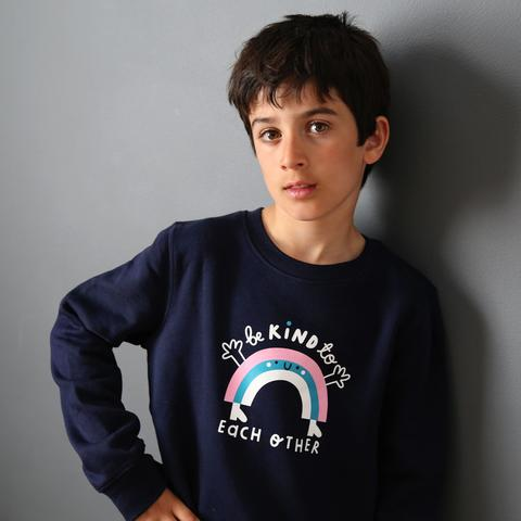 Kindness Co-Op Rainbow Sweatshirt Navy