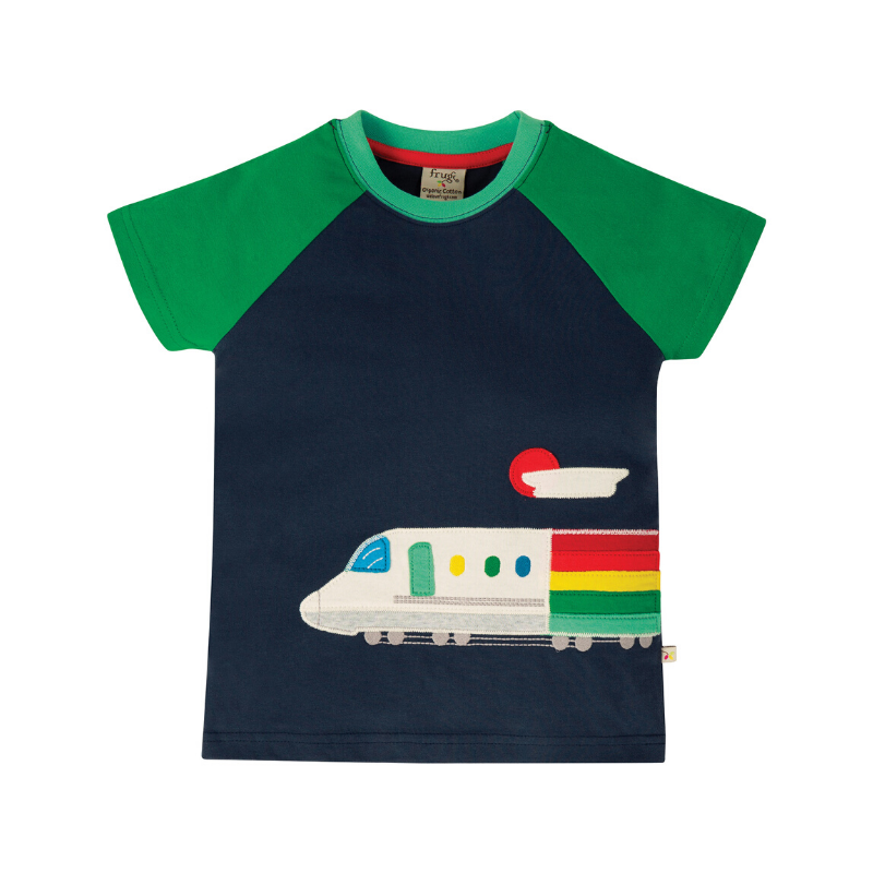 Frugi Rafe Raglan T-Shirt - Indigo/Train