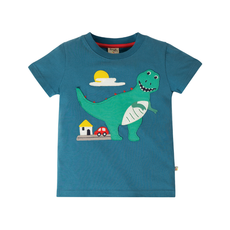 Frugi Carsen T-Shirt - Steely Blue/Dino