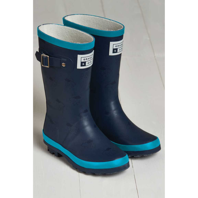 Grass & Air Junior Wellies - Turquoise/Navy