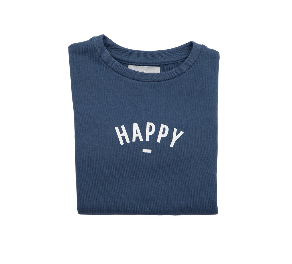 Bob & Blossom 'Happy' Sweatshirt - Denim Blue