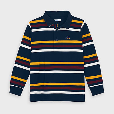 Mayoral Striped Polo Shirt-Navy Stripe (4132) (was £24)