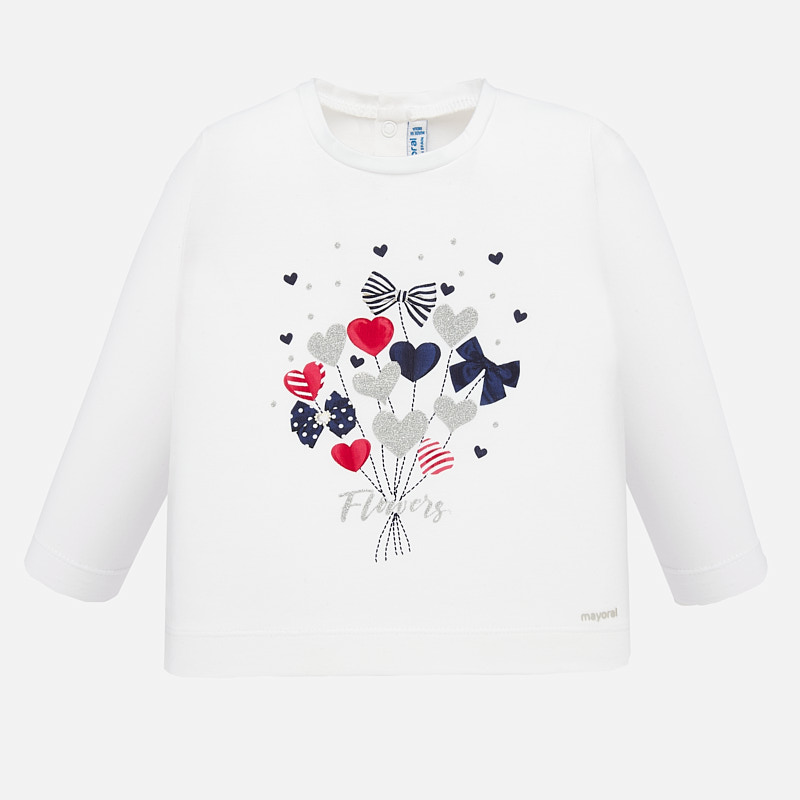 Mayoral Heart Bouquet Top White (1068)