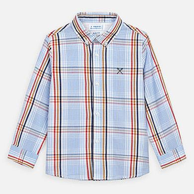 Mayoral Long Sleeve Checked Shirt Pale Blue (3172)