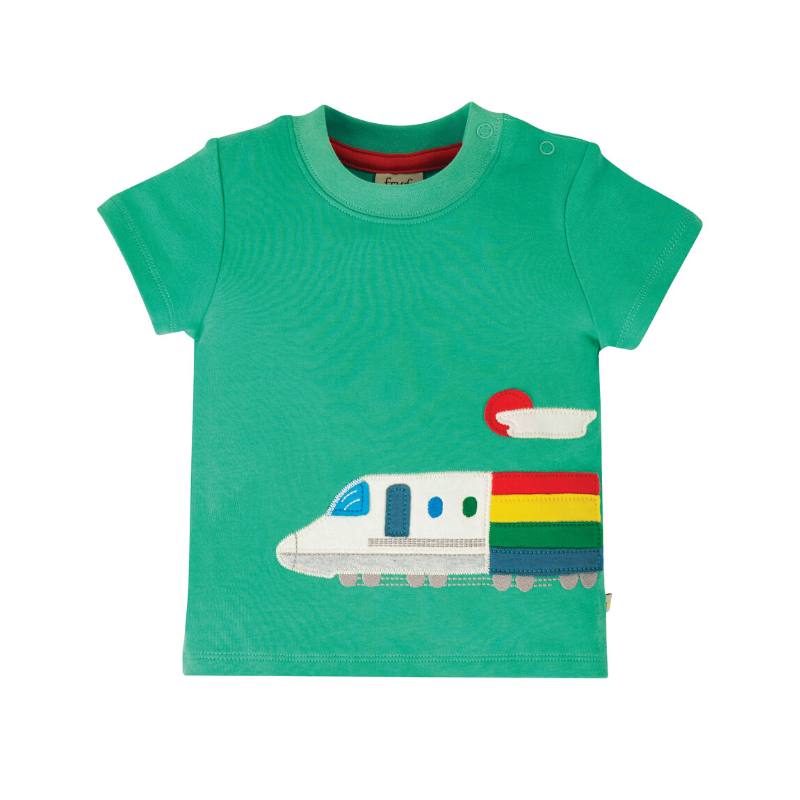 NOW £15.20 Frugi Cooper Top - Pacific Aqua/Train